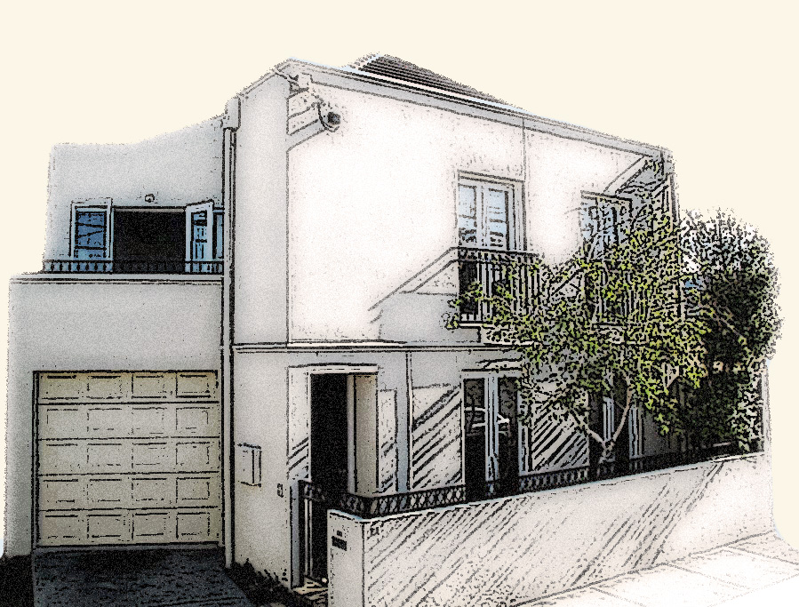 sketch of South Yarra Place house